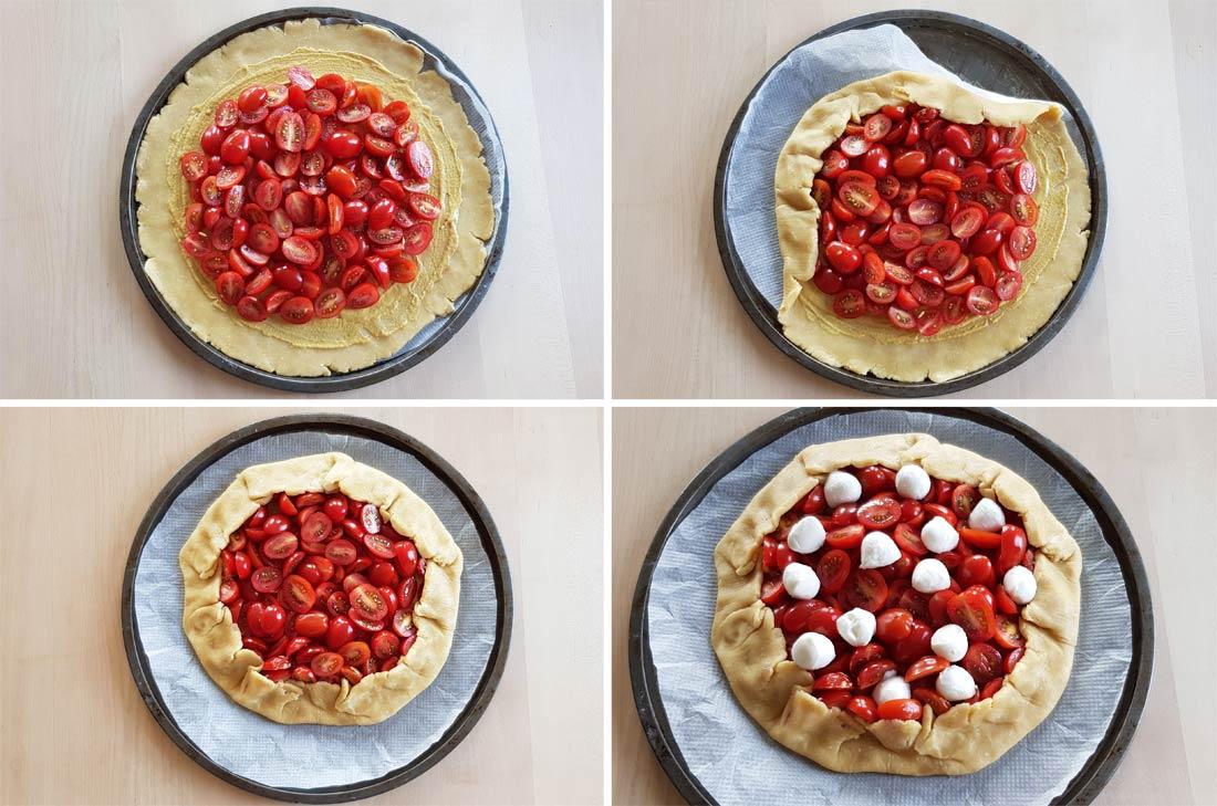 Pas à pas tarte rustique tomates cerises mozzarella fait maison