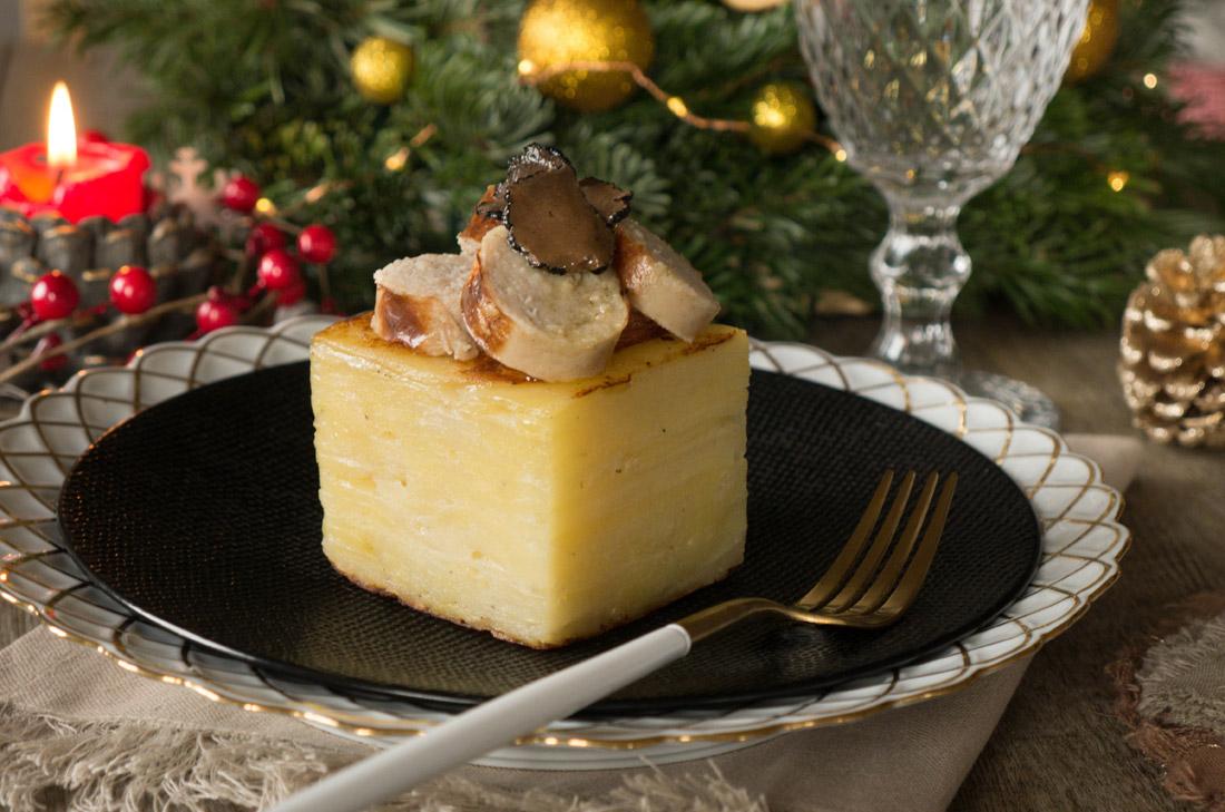 Étagé pommes de terre boudin blanc truffes