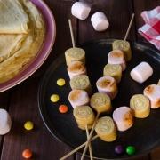 brochettes de crêpes amandes chamallows grillés maison