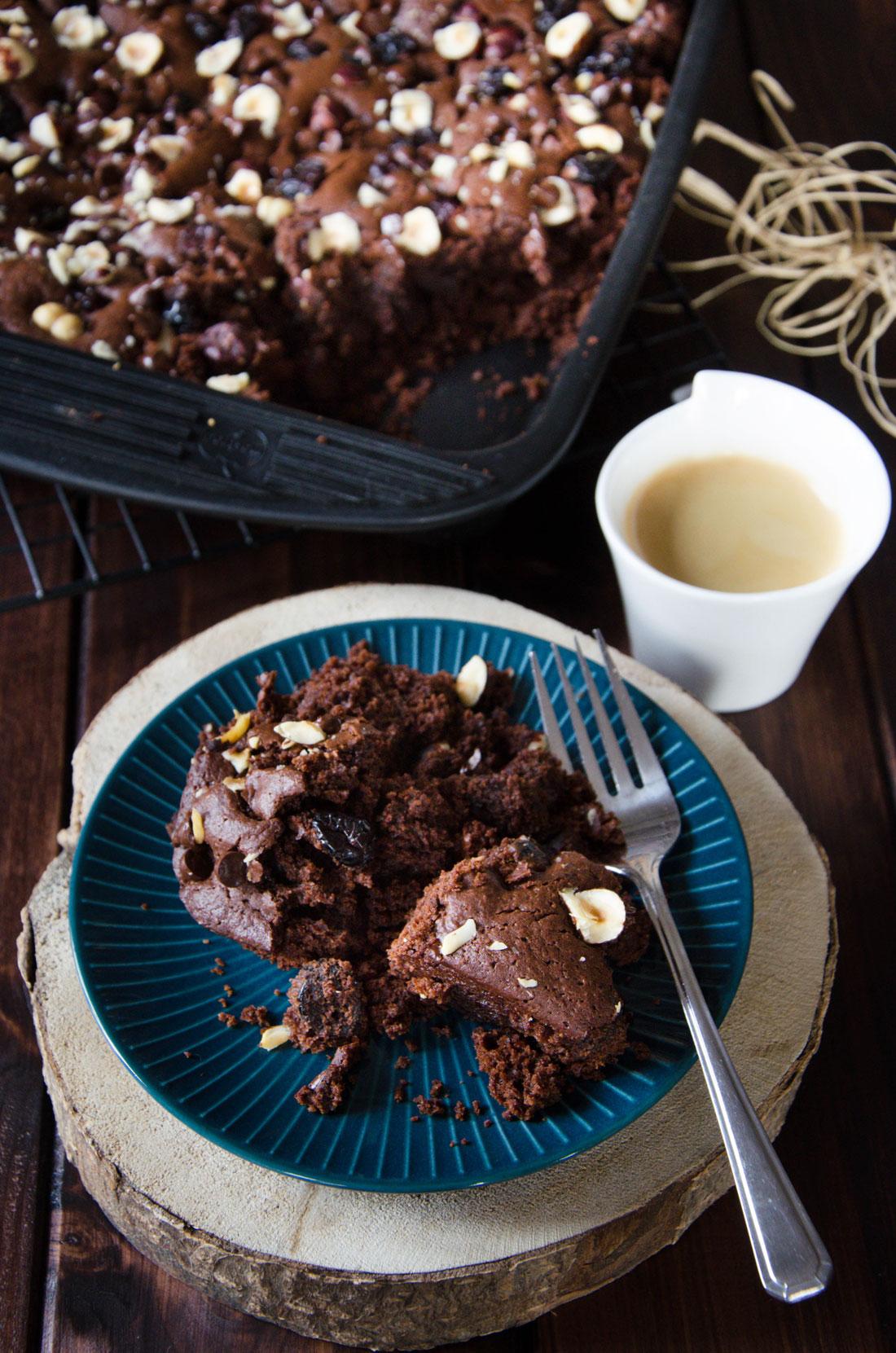 Brownie chocolat cranberries noisettes fait maison