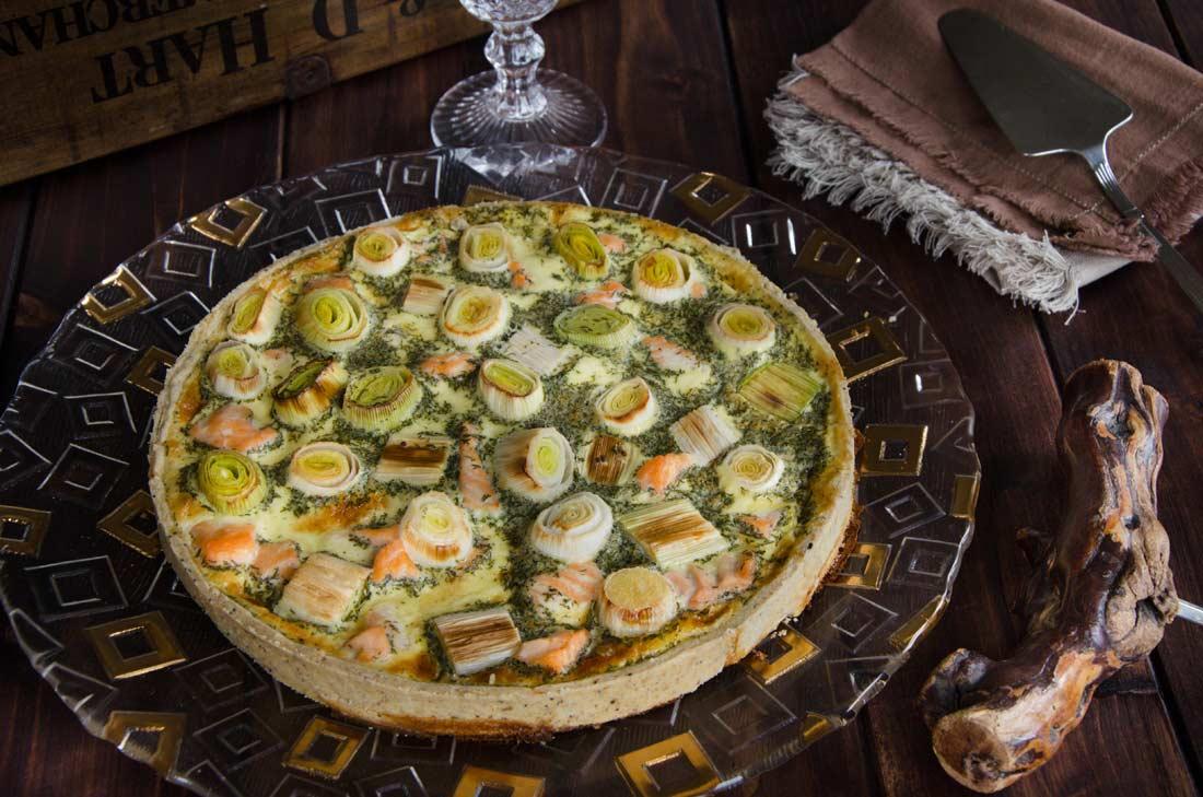 Recette de quiche aux poireaux et saumon fait maison
