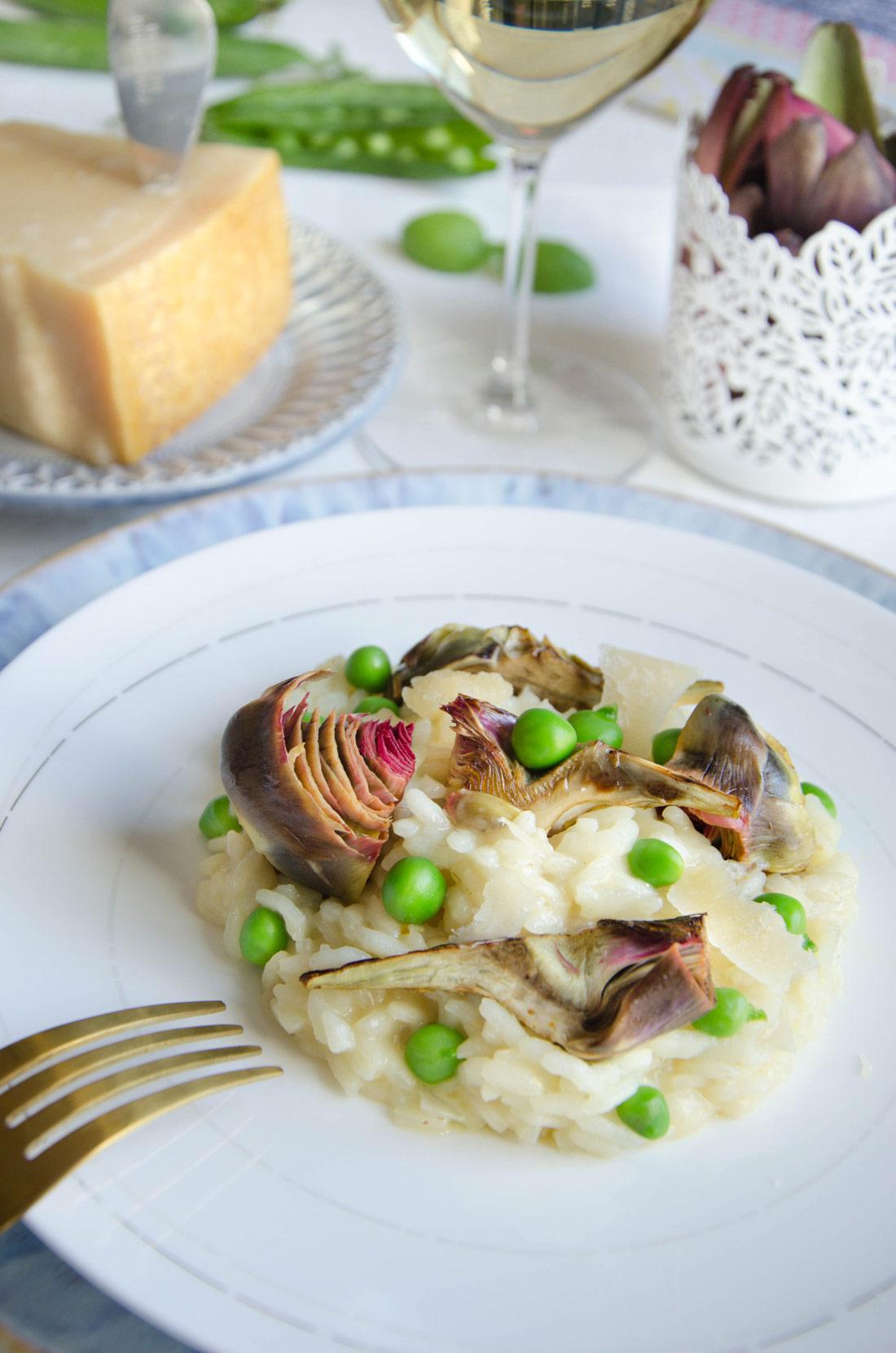Recette de risotto aux artichauts et aux petits pois