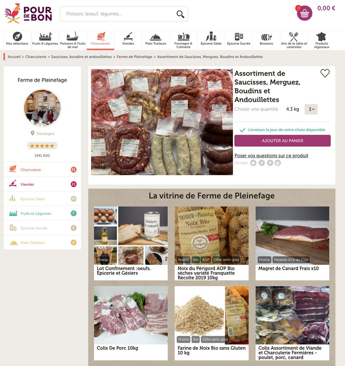 Capture d'écran du site Pour de Bon