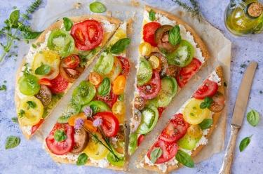 Tarte feuilletée tomates multicolores
