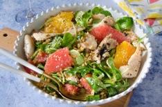 Salade lapin agrumes vinaigrette ail noir maison