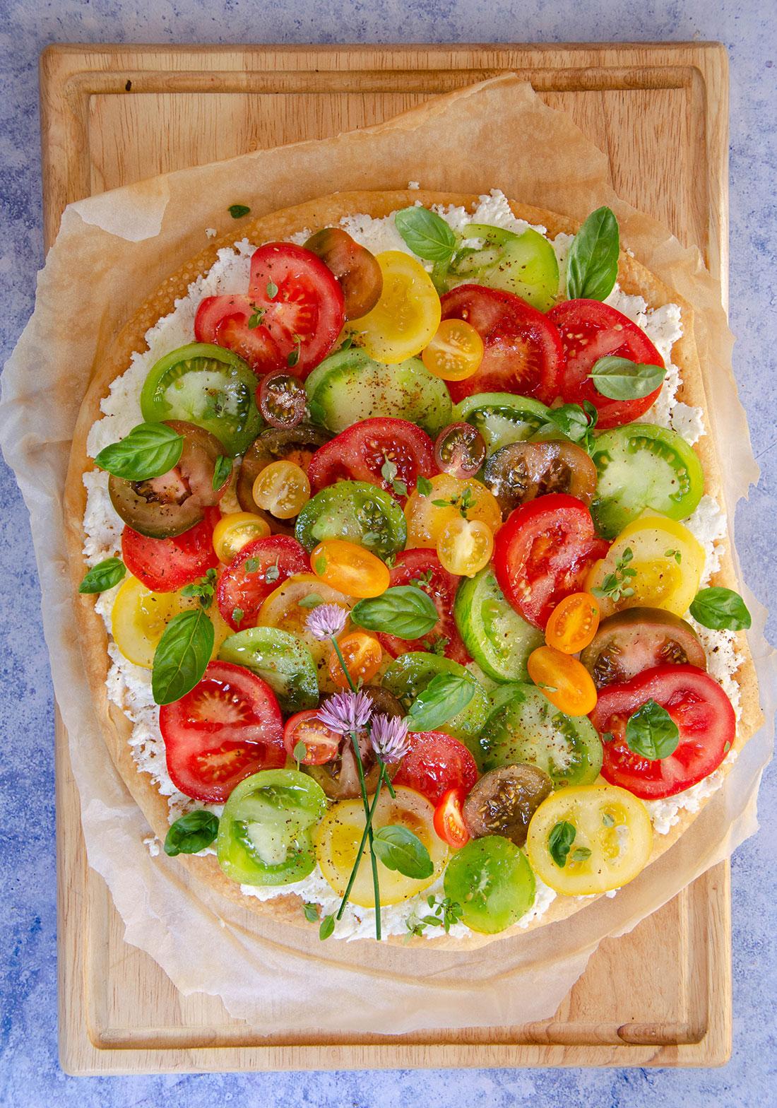 Recette de tarte feuilletée tomates multicolores maison