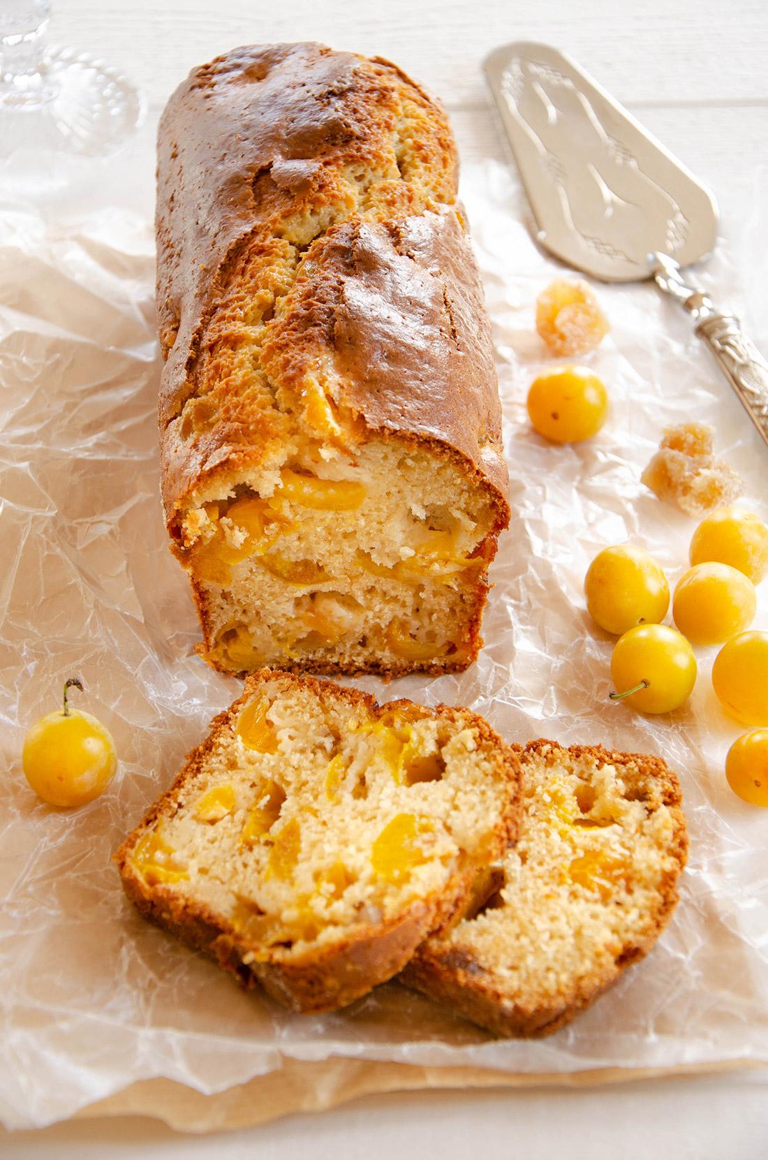Cake mirabelles gingembre fait maison