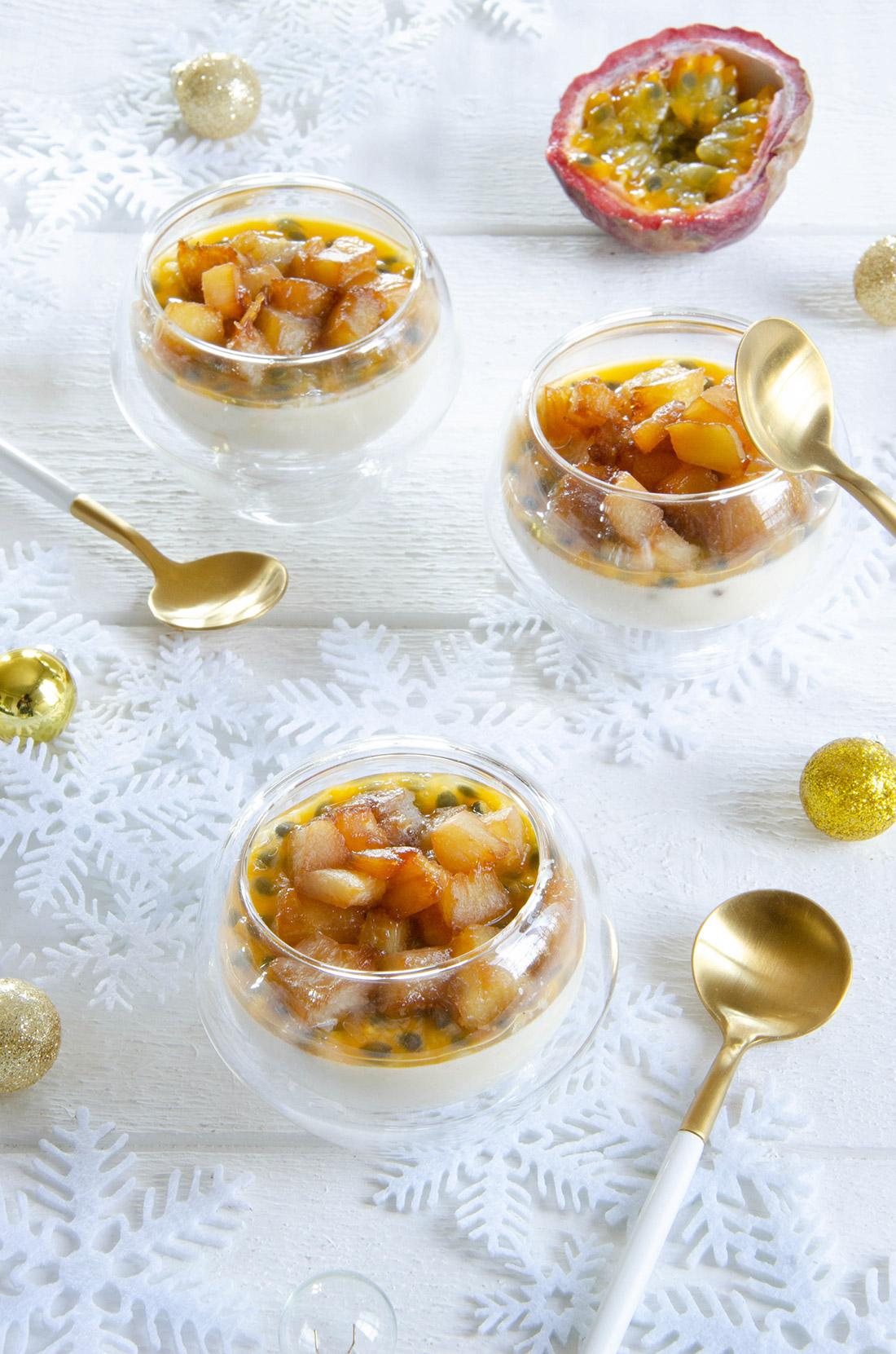 Délicieuse recette de panna cotta ananas rôti passion