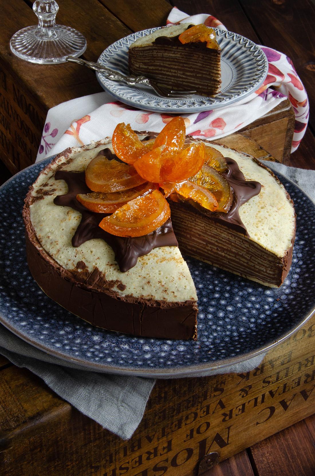 Gâteau de crêpes chocolat orange confite, recette de Chandeleur délicieuse et originale