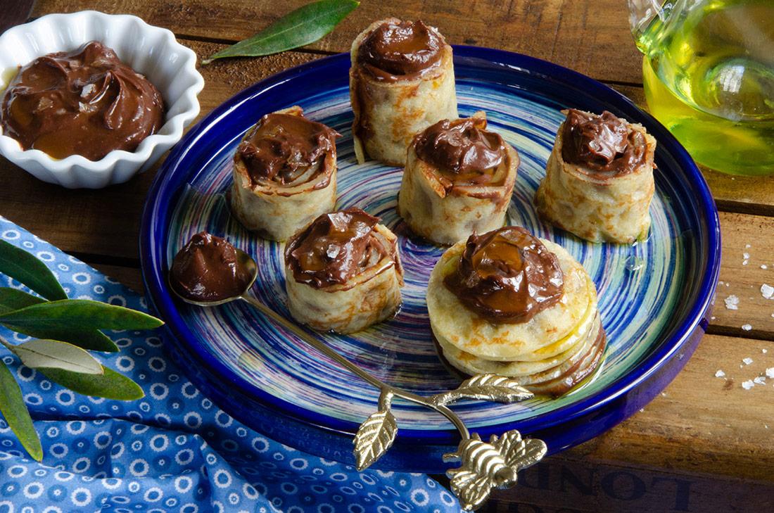 Makis de crêpes chocolat olive fleur de sel