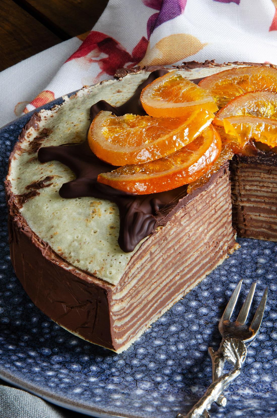 Gâteau de crêpes chocolat orange confite, idée originale pour la Chandeleur