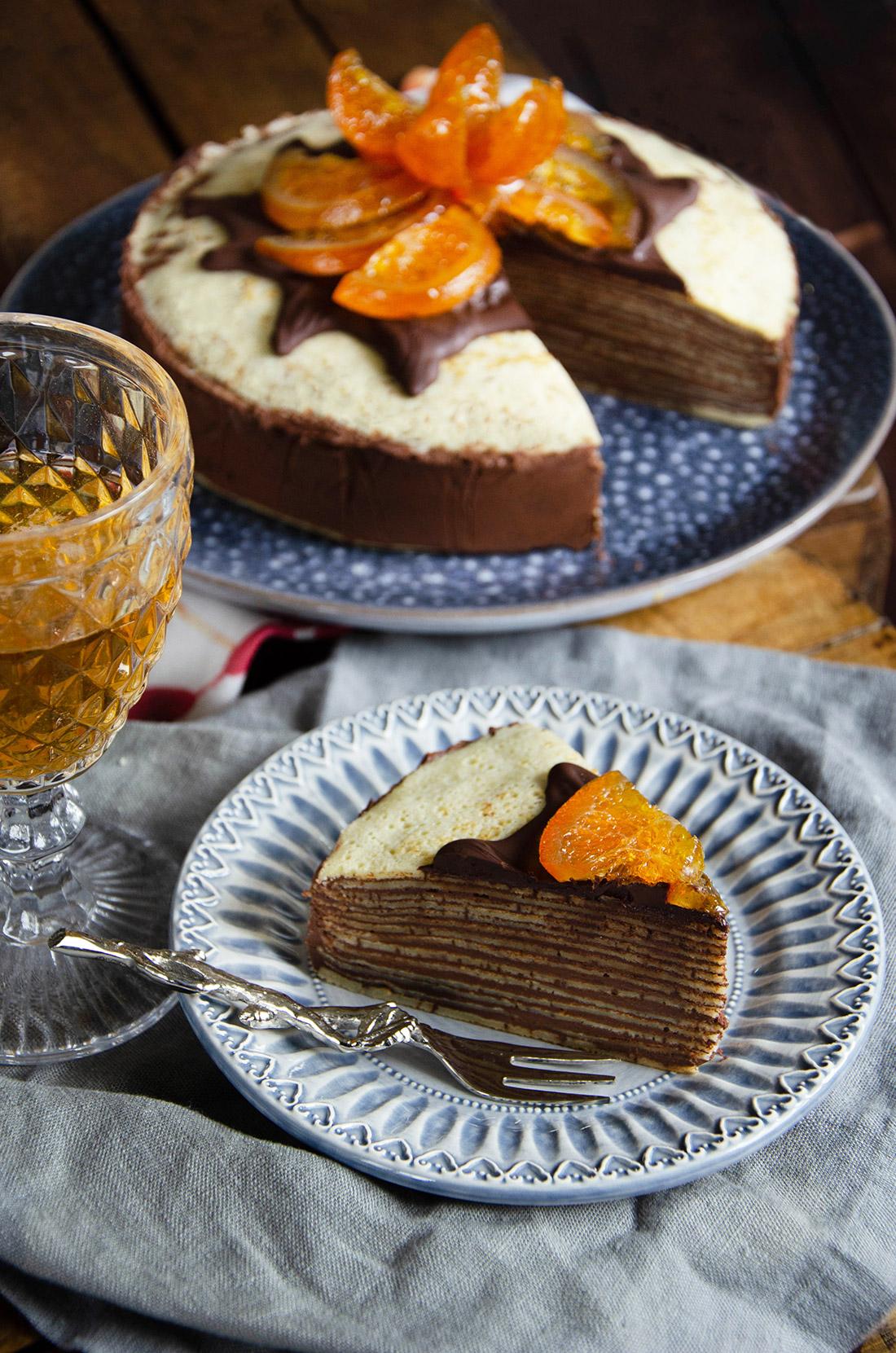 Recette de gâteau de crêpes au chocolat et aux tranches d'orange confite