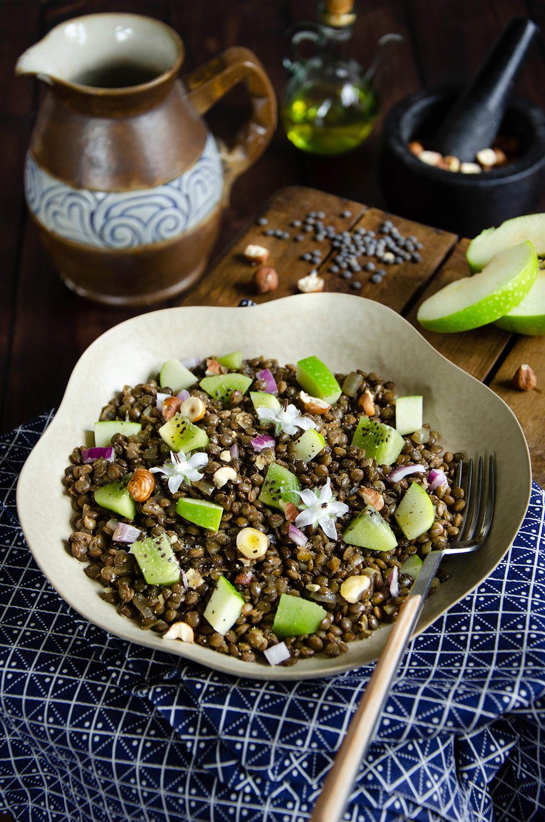 Salade de lentilles curry et fruits