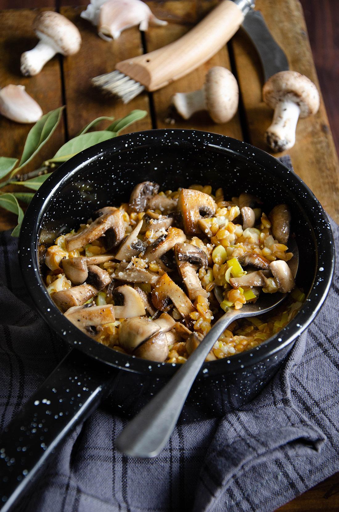 Risotto épeautre champignons fait maison