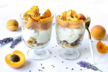 Verrines chocolat blanc abricots lavande