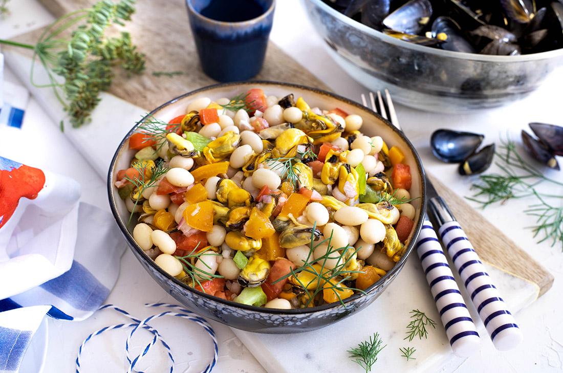 Recette de de salade de cocos de Paimpol et moules